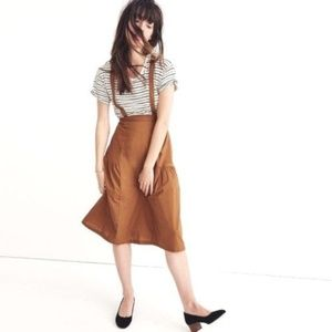 MADEWELL A-line Midi Skirt w/ Suspenders size 00
